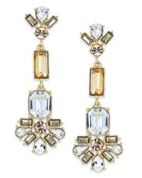 kate spade new york | Metallic New York Goldtone Crystal Linear Earrings | Lyst