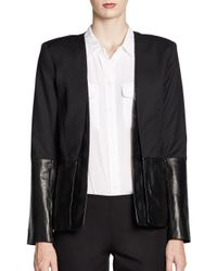 Parker | Black Leathertrimmed Boyfriend Jacket | Lyst