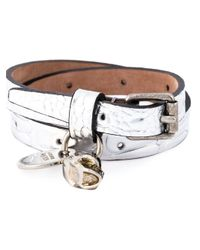 Alexander McQueen | Metallic Double Wrap Skull Bracelet | Lyst