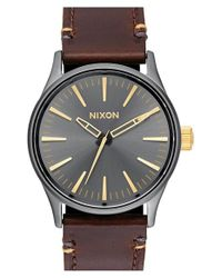 Nixon - Brown 'the Sentry' Leather Strap Watch - Lyst