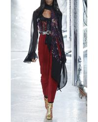 Rodarte - Red Burgundy Suede Cropped Pants - Lyst