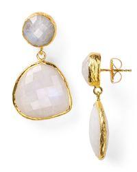 Coralia Leets - White Mykonos Double Stone Teardrop Post Earrings - Lyst
