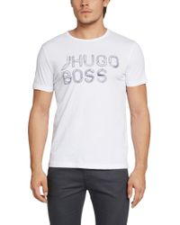 BOSS Green - White 'teeos' | Cotton Logo T-shirt for Men - Lyst