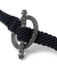 Yuvi Blue Black Diamond Silver and Woven Cord Bracelet for men