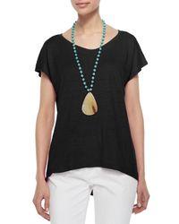 Eileen Fisher - Black Linen Jersey Cap-Sleeve Top - Lyst