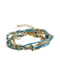 Sogoli | Blue And Gold Braided Bead Chain Wrap Bracelet | Lyst