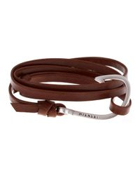 Miansai | Brown Burgundy Hook Leather Wrap Bracelet for Men | Lyst