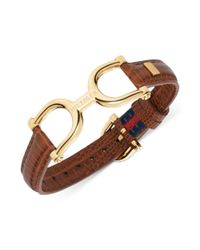 Tommy Hilfiger - Metallic Goldtone Brown Leather Belt Bracelet - Lyst