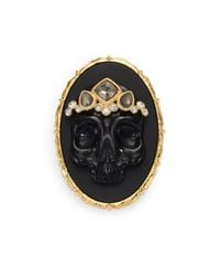 Alexis Bittar | Elements Muse D'Ore Black Agate, Pyrite & Crystal Skull Cameo Pin | Lyst