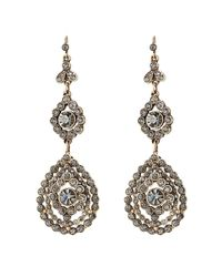 Alberta Ferretti | Metallic Embellished Chandelier Earrings - Blue | Lyst