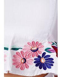 Missguided - Multicolor Morava Premium Floral Embroidered Cami Crop Top - Lyst