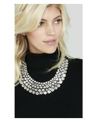 Express - Metallic Woven Stone Necklace - Lyst