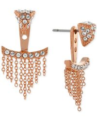 Vince Camuto - Pink Rose Gold-tone Pavé Triangle And Chain Fringe Ear Jackets - Lyst