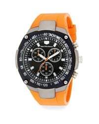 Saks Fifth Avenue | Chronograph Screw Detail Rubber Strap Watch/orange | Lyst