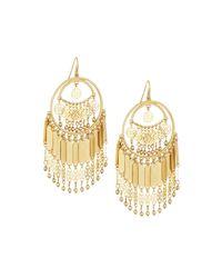 Lydell NYC - Metallic Golden Southwestern Fringe Hoop Earrings - Lyst