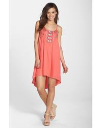 BB Dakota | Pink 'Kase' Embroidered High/Low A-Line Dress | Lyst