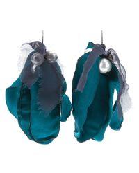 Lanvin | Green Silk Petal Earring | Lyst