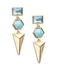 Trina Turk | Blue Hexagon Triple Drop Earrings | Lyst