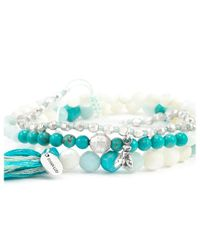 Chan Luu - Blue Turquoise Bead Mix Stretch Bracelet Set - Lyst
