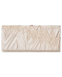 Jessica Mcclintock | Metallic Satin And Stones Clutch | Lyst