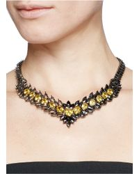 Iosselliani - Gray Asymmetric Marquise Cutwork Collar Necklace - Lyst