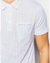 French Connection | White Polo Shirt With Ditsy Print for Men | Lyst