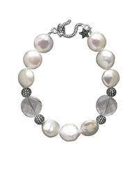 Lord & Taylor | Natural Sterling Silver 12-13mm Freshwater Coin Pearl Bracelet With Swarovski Crystal Necklace | Lyst