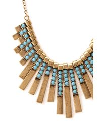 Forever 21 - Blue Art Deco Fan Bib Necklace - Lyst