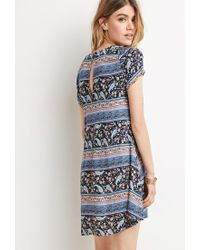 Forever 21 | Blue Buttoned Floral Print Dress | Lyst