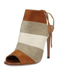 Aquazzura - Multicolor Rainbow Striped-Suede Sandals - Lyst