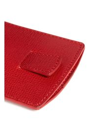 Mark Cross - Red Saffiano Leather Business Card Case - Lyst
