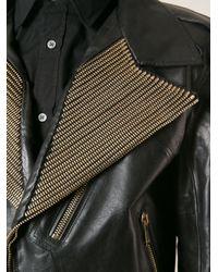 Alexander McQueen - Black Embellished Biker Jacket for Men - Lyst