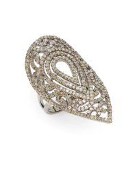 Bavna | Metallic 2.19 Tcw Champagne Diamond & Sterling Silver Teardrop Ring | Lyst