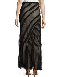Haute Hippie - Black Long Skirt With Frayed-stripe Detail - Lyst