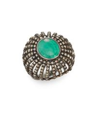Bavna | Green Emerald, Champagne Diamond & Sterling Silver Ring | Lyst