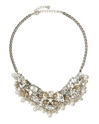 Lydell NYC | White Crystal-cluster Statement Bib Necklace | Lyst