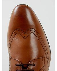 TOPMAN - Brown Tan Leather Wingcap Smart Shoes for Men - Lyst