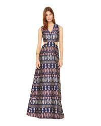 Tory Burch - Blue Metallic Jacquard Cut-out Gown - Lyst