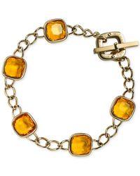 Michael Kors | Metallic Gold-Tone Citrine Crystal Link Bracelet | Lyst