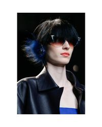 Fendi | Blue Embellished Fox Fur Ear Cuff | Lyst