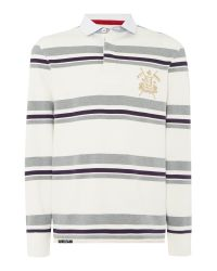 Howick | Gray Stripe Rugby Neck Regular Fit Rugby Top for Men | Lyst