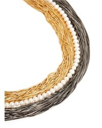 Iosselliani | Multicolor Flat Snake Chain And Pearl Necklace | Lyst