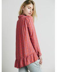 Free People - Pink Womens Stripe Ruffle Hem Button Down - Lyst