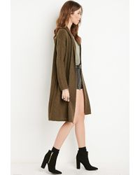 Forever 21 - Green Marled Longline Cardigan - Lyst
