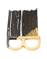 MM6 by Maison Martin Margiela - Metallic Fringed Two Finger Ring - Lyst