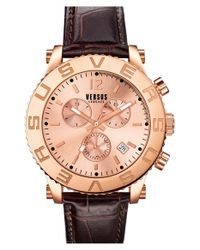 Versus | Pink 'madison' Chronograph Leather Strap Watch for Men | Lyst