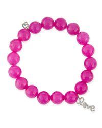 Sydney Evan | Purple 10mm Fuchsia Agate Beaded Bracelet With Diamond Love Charm | Lyst