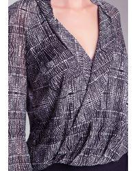 Bebe - Gray Print Surplice Shirt - Lyst