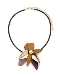 Marni | Metallic Leather & Horn Flower Pendant Necklace | Lyst