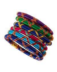 Rosena Sammi | Multicolor Set Of 6 Monsoon Ribbon Bangles | Lyst
